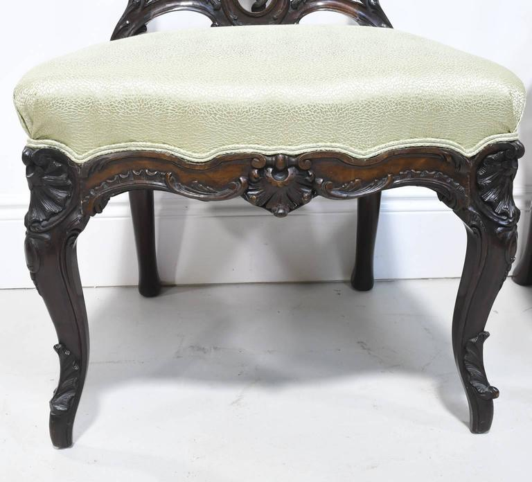 Upholstery Fine Pair of Early 19th Century American Rococo Revival Chairs in Mahogany For Sale