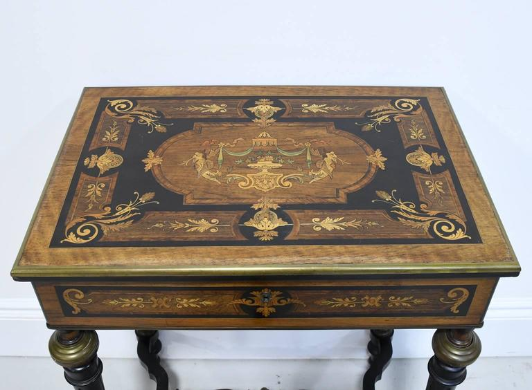French 19th Century Napoleon III Marquetry Vanity Side Table, France, circa 1860 For Sale