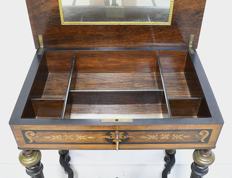 19th Century Napoleon III Marquetry Vanity Side Table, France, circa 1860 For Sale 1