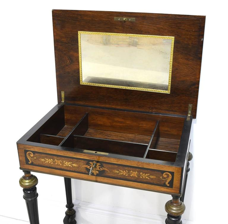19th Century Napoleon III Marquetry Vanity Side Table, France, circa 1860 For Sale 2