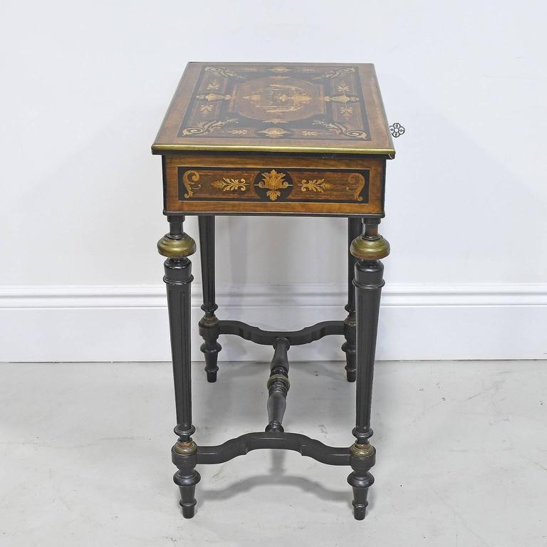 19th Century Napoleon III Marquetry Vanity Side Table, France, circa 1860 For Sale 3