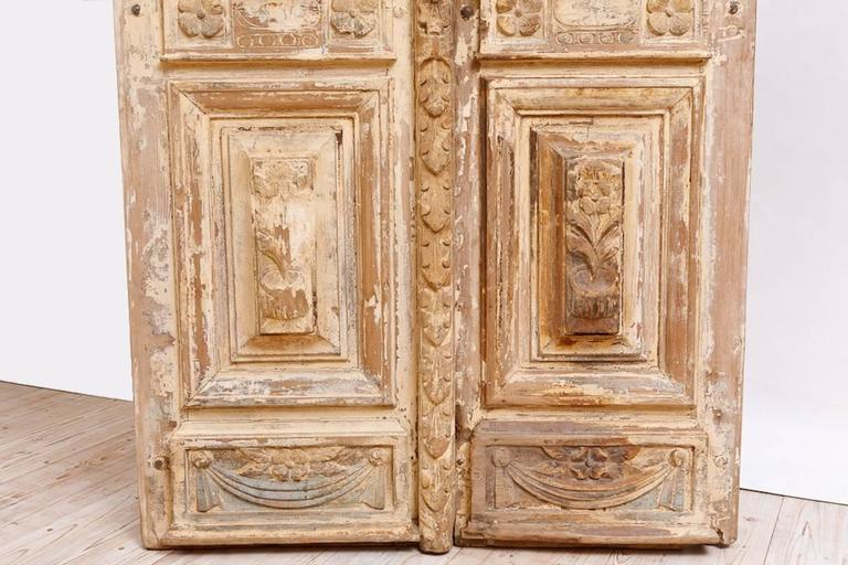 Distressed French Belle Epoque Wooden Doors in Original Paint, circa 1880 6