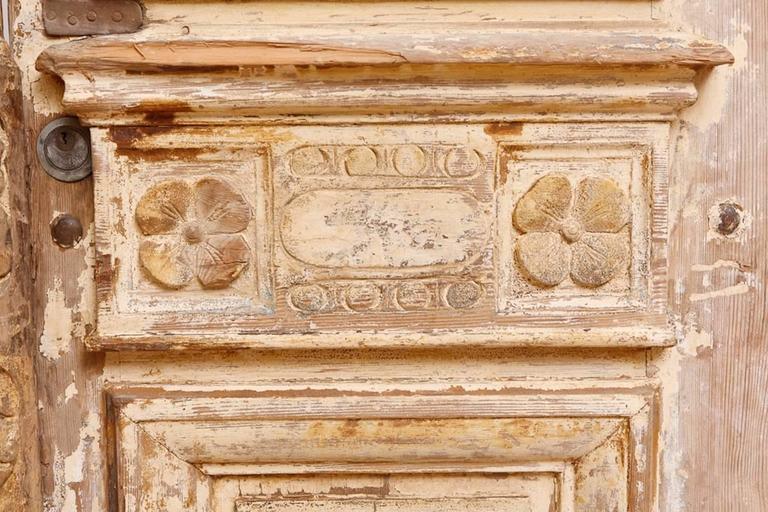 Distressed French Belle Epoque Wooden Doors in Original Paint, circa 1880 7