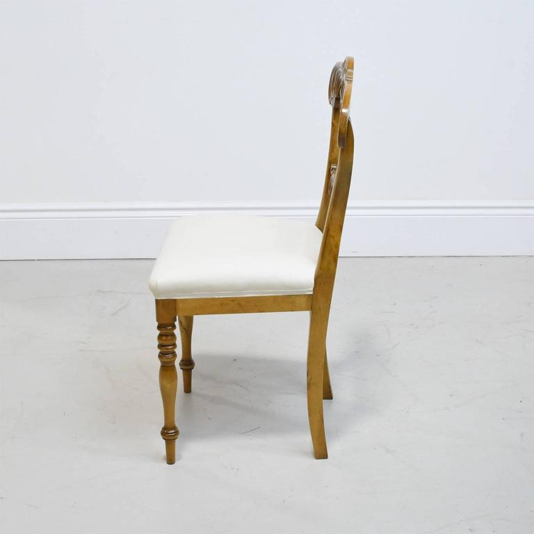 19th Century Set of Six Karl Johan Dining Chairs in Birch with Upholstered Seats In Good Condition For Sale In Miami, FL