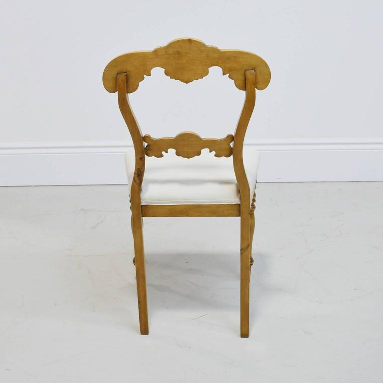 19th Century Set of Six Karl Johan Dining Chairs in Birch with Upholstered Seats For Sale 1