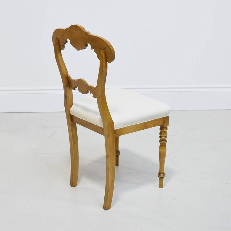 19th Century Set of Six Karl Johan Dining Chairs in Birch with Upholstered Seats For Sale 2