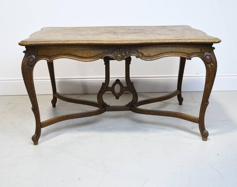 Louis XV 19th Century French Provincial Extension Dining Table In Oak With Parquetry Top For Sale