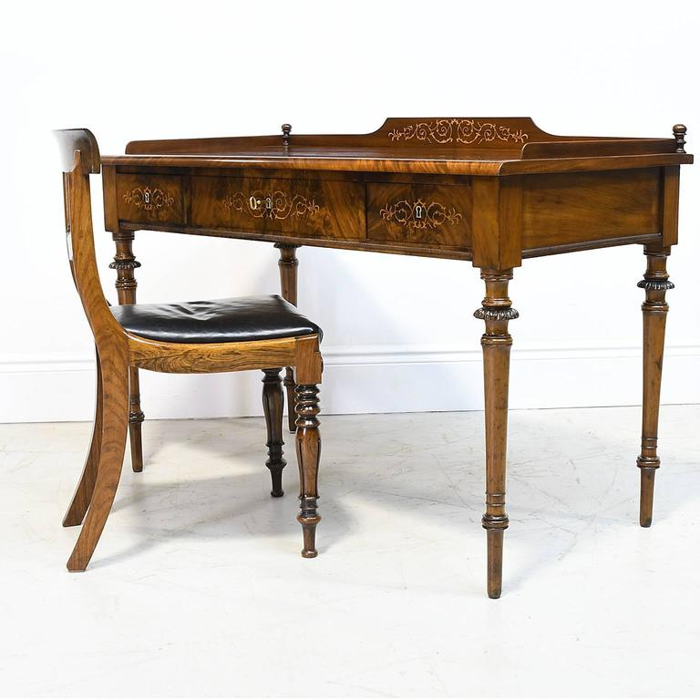 19th Century Christian VIII Scandinavian Writing Desk in Mahogany with Marquetry For Sale 2