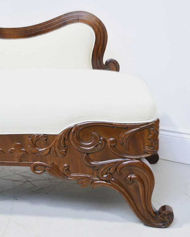 19th Century Empire Meridienne or Recamier in Carved Mahogany with Upholstery For Sale 3