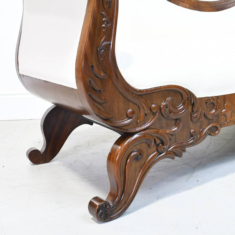Cotton 19th Century Empire Meridienne or Recamier in Carved Mahogany with Upholstery For Sale