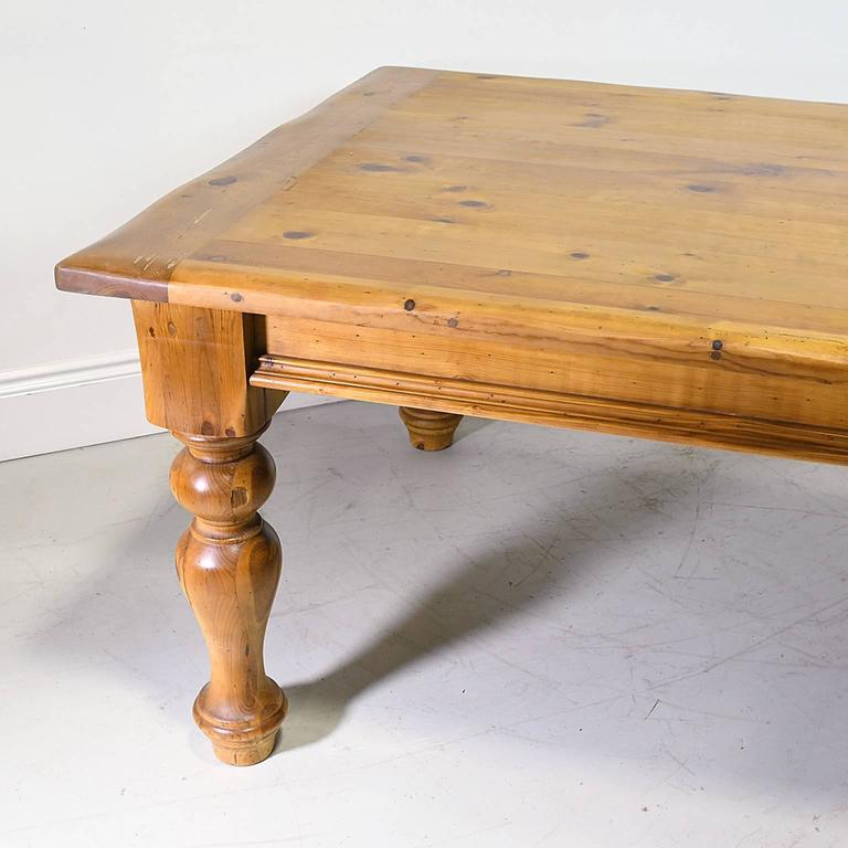 Farmhouse Kitchen Table in Pine with Massive Turned Legs, circa 1990