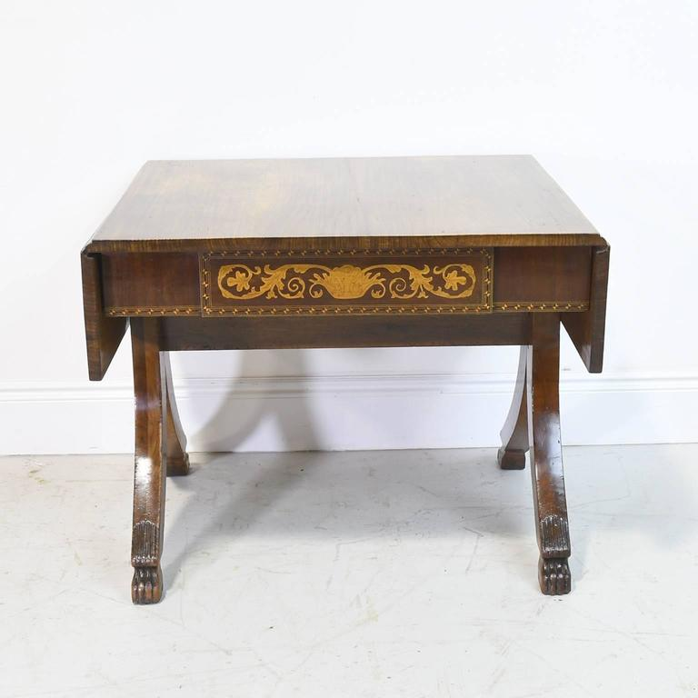A Handsome Italian Empire Writing Table Or Sofa In Gany With Fold Down Leaves
