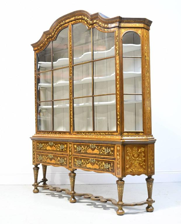 Rococo Early 19th Century Dutch Vitrine/Glass Display Cabinet with Marquetry, c. 1800 For Sale