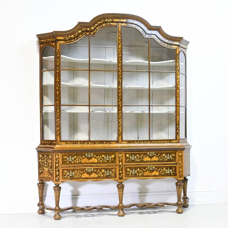 Hand-Carved Early 19th Century Dutch Vitrine/Glass Display Cabinet with Marquetry, c. 1800 For Sale