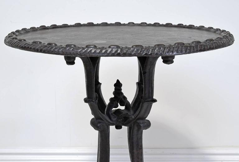 Vintage Cast Iron Round Garden Or Bistro Pub Table With Black Patina At 1stdibs