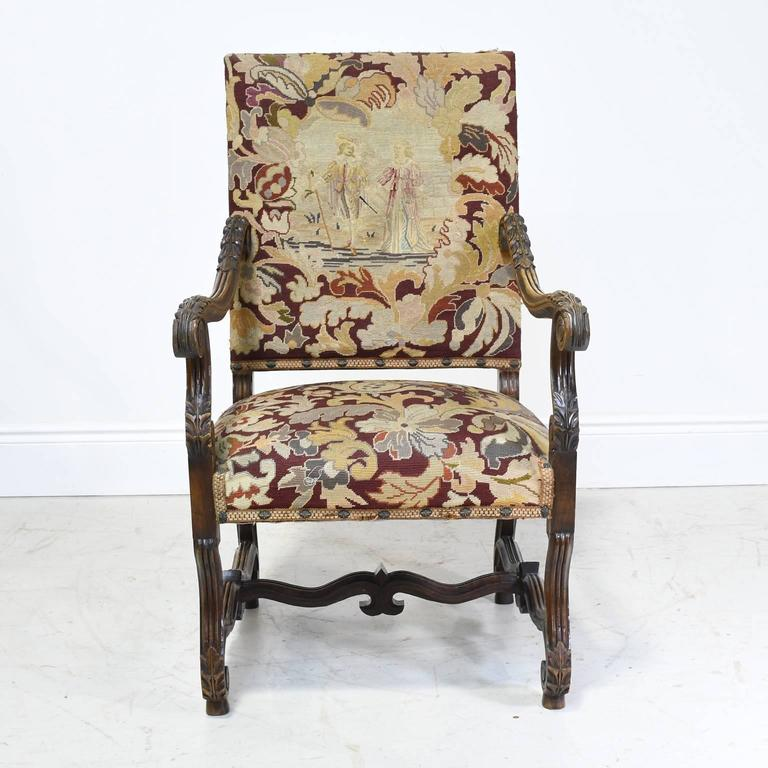 A Pair Of Late 19th Century Throne Chairs In Oak In The Louis XIII Style  With