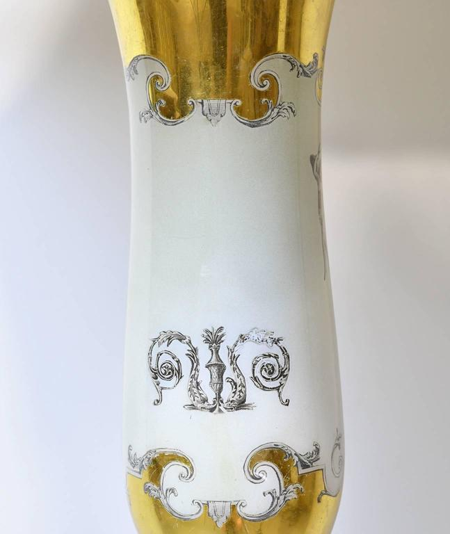 Pair of 20th Century White Porcelain Lamps with Luster Ware Glaze & Gilding For Sale 2