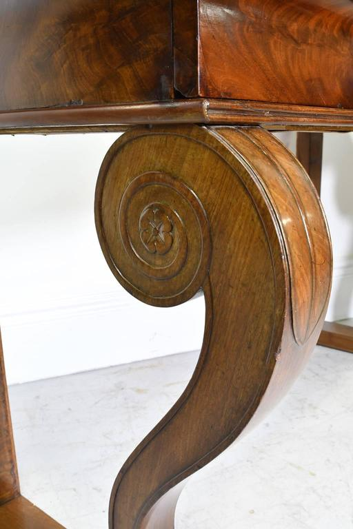 Early 19th Century French Empire Console Table in Mahogany w/ White Carrara Marble Top, circa 1800 For Sale