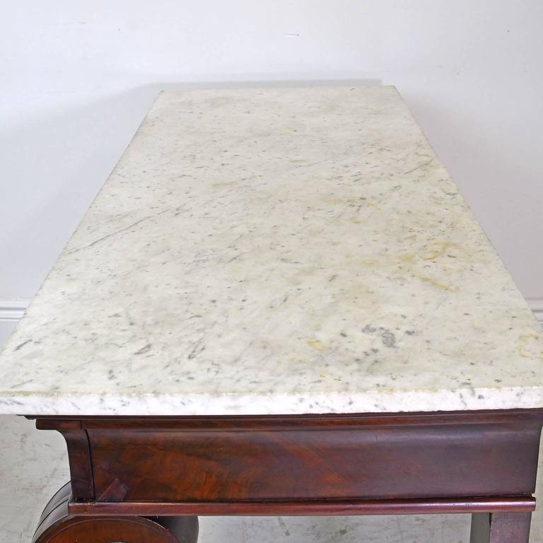 French Empire Console Table in Mahogany w/ White Carrara Marble Top, circa 1800 For Sale 4
