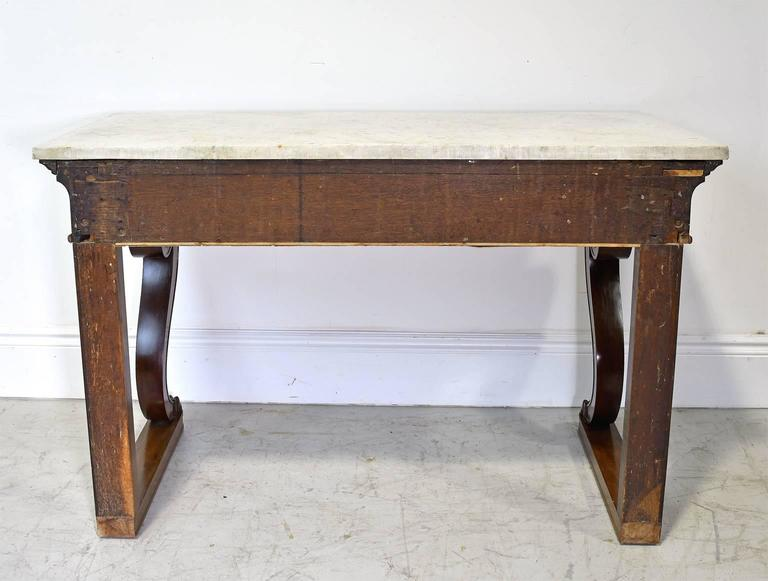 French Empire Console Table in Mahogany w/ White Carrara Marble Top, circa 1800 For Sale 5