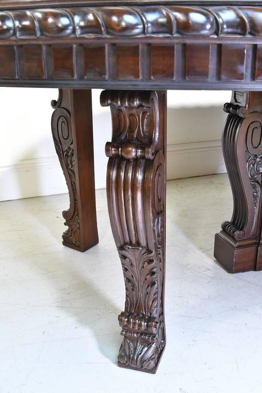 20 Ft. Long Belle Époque Extension Dining Table in Mahogany, New York, c. 1890 For Sale 2