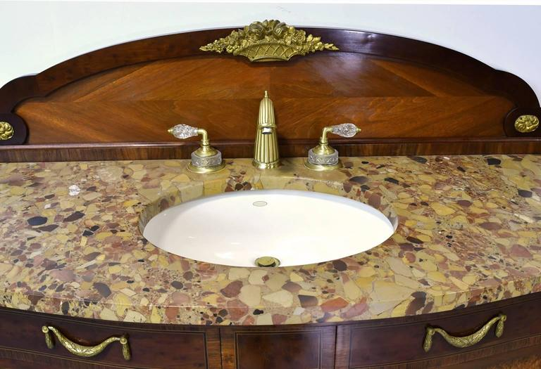 Pair Of Antique French Empire-Style Bathroom Vanities With