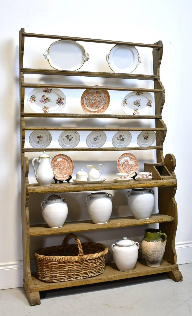 German 18th Century Baroque Painted Ochre Cupboard with Open Dish Rack and Shelving For Sale