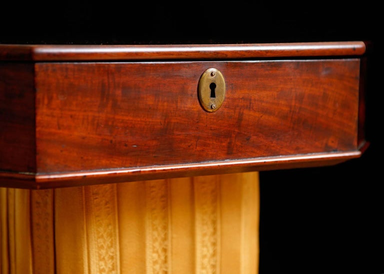 Carved 19th Century Biedermeier End Table or Wine Table,  in Mahogany on Pedestal Base For Sale