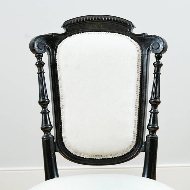 Ebonized Set of Four French Napoleon III Dining Chairs with Upholstery, circa 1870 For Sale