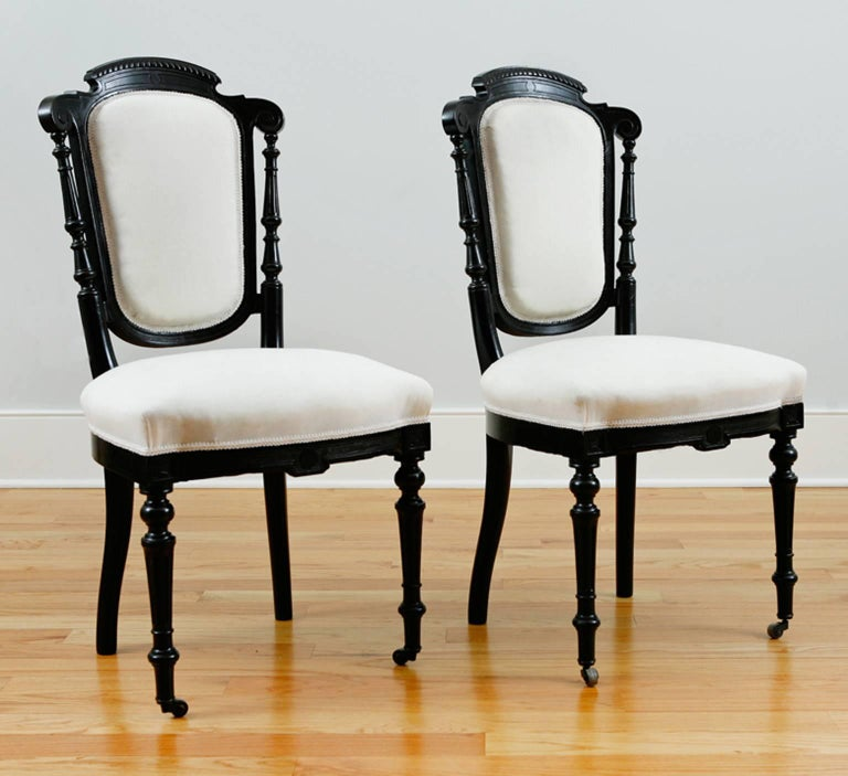Set of Four French Napoleon III Dining Chairs with Upholstery, circa 1870 For Sale 1