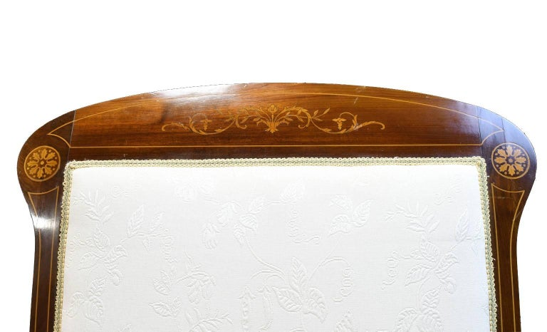Pair of Art Deco Danish Bergères in West Indies Mahogany with Inlays, circa 1910 For Sale 4