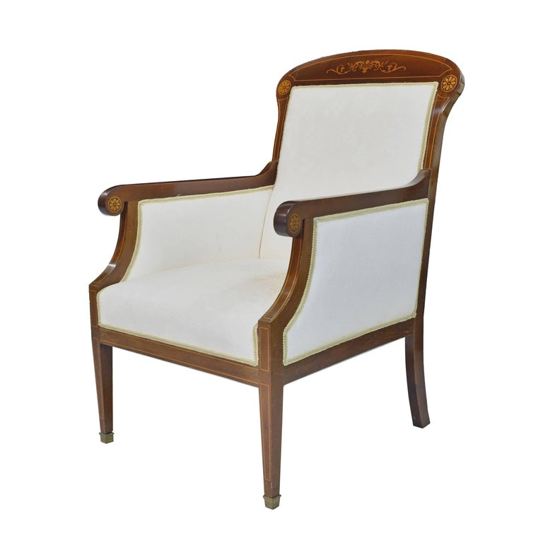 Upholstery Pair of Art Deco Danish Bergères in West Indies Mahogany with Inlays, circa 1910 For Sale