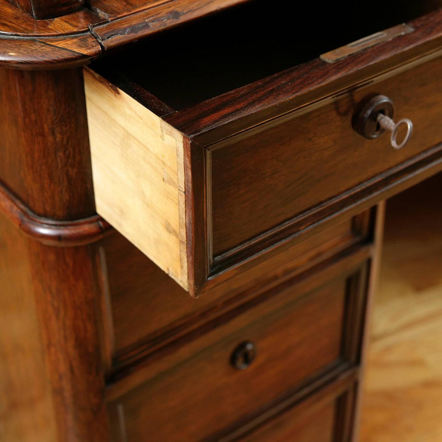 French Napoleon III Tambour Roll-Top Desk In Rosewood