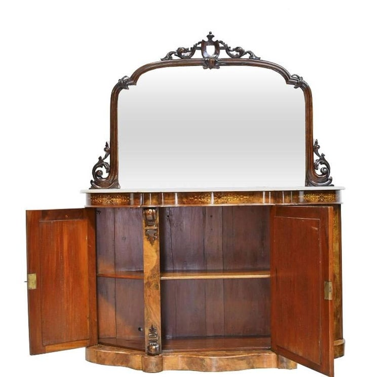 19th Century English Victorian Burl Walnut Console W