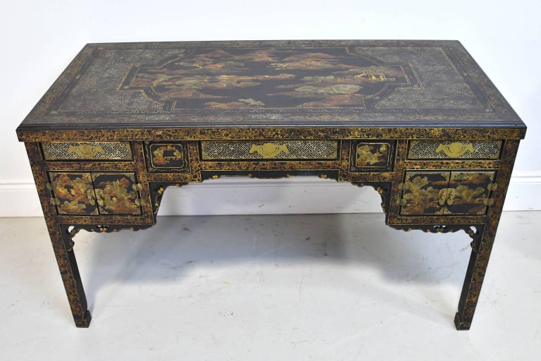 20th Century Queen Anne Revival English Chinoiserie Desk
