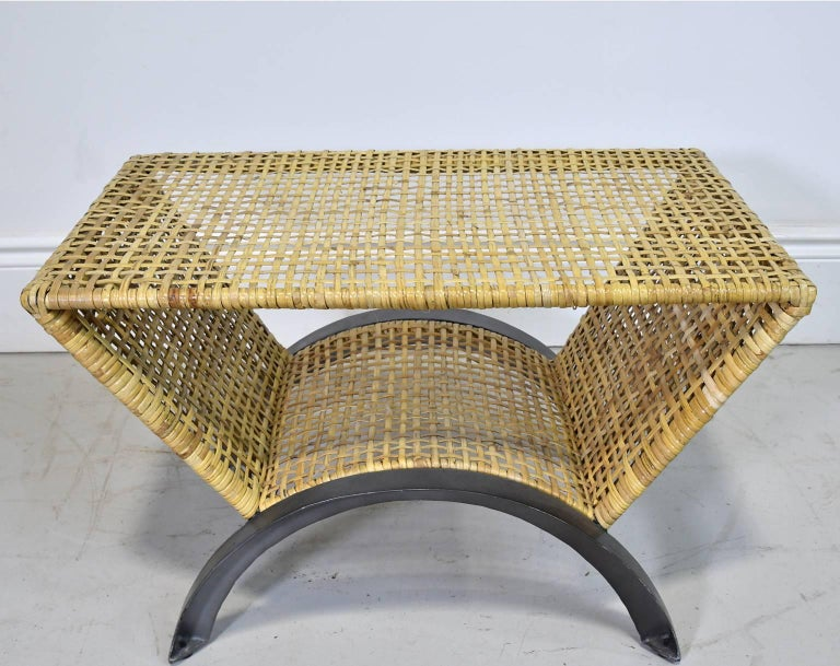 Vietnamese Pair of 20th Century Woven Rattan End Tables or Stools For Sale