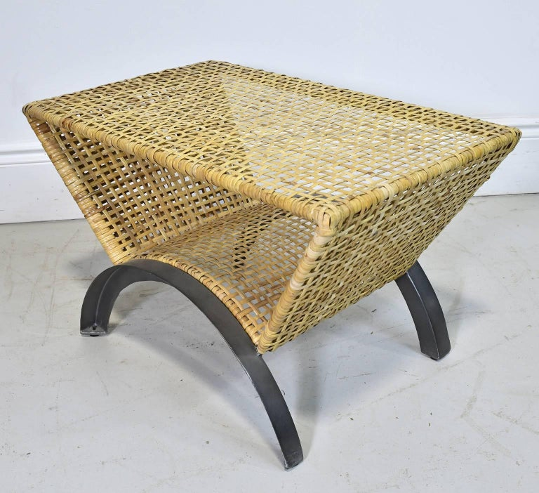 Pair of 20th Century Woven Rattan End Tables or Stools In Good Condition For Sale In Miami, FL