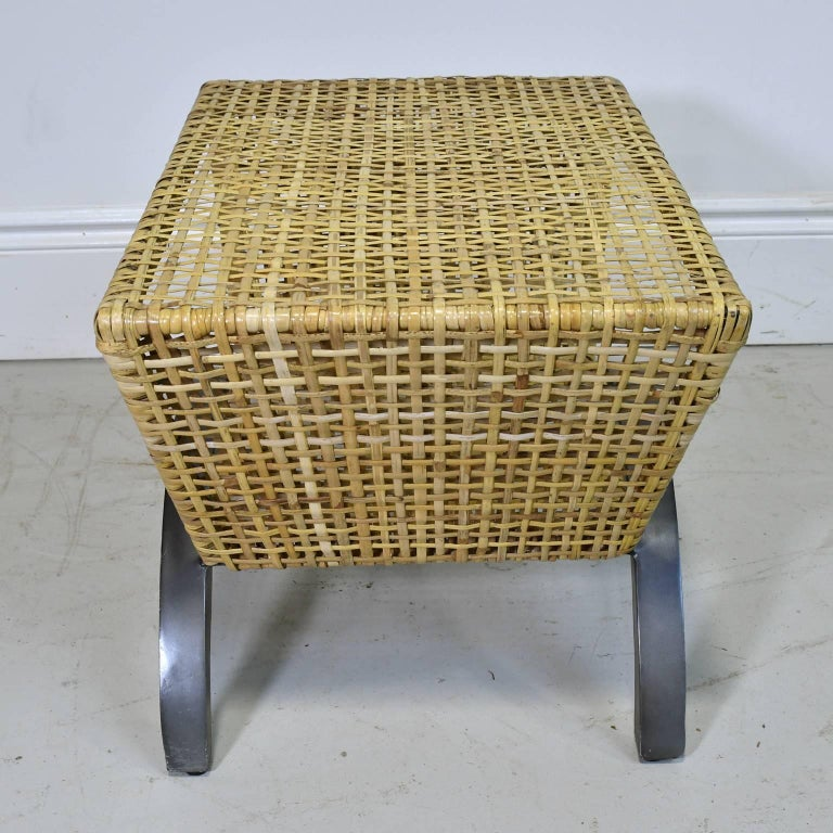 Metal Pair of 20th Century Woven Rattan End Tables or Stools For Sale