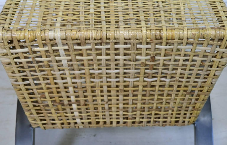 Pair of 20th Century Woven Rattan End Tables or Stools For Sale 1