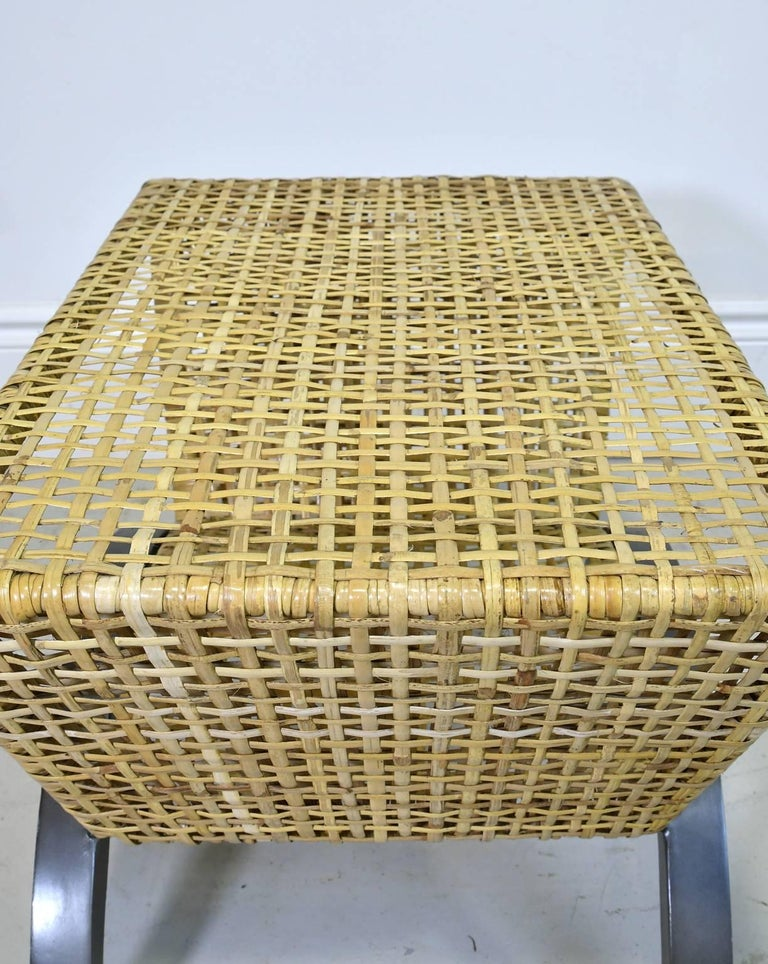 Pair of 20th Century Woven Rattan End Tables or Stools For Sale 2