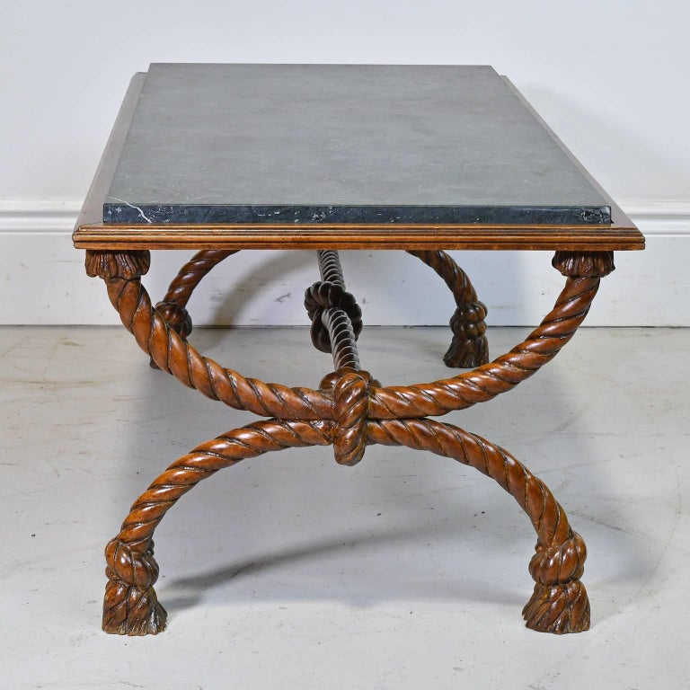 Coffee Table Bases For Marble Tops: Small Rectangular Coffee Table With Carved Trestle Base