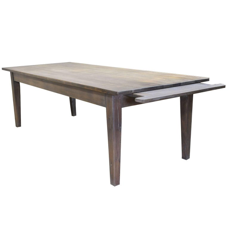 8 39 farmhouse dining table in repurposed white oak with for Repurposed dining table