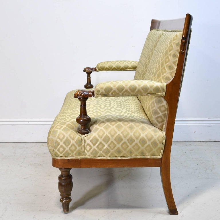 Late Victorian 19th Century Danish Canapé in Walnut with Upholstery For Sale