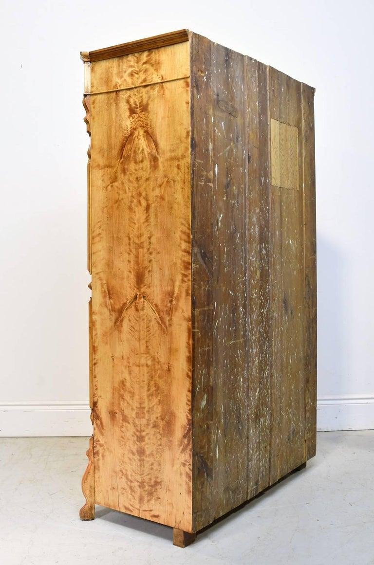 North German Single-Door Biedermeier Armoire in Fire Birch, circa 1845 For Sale 1