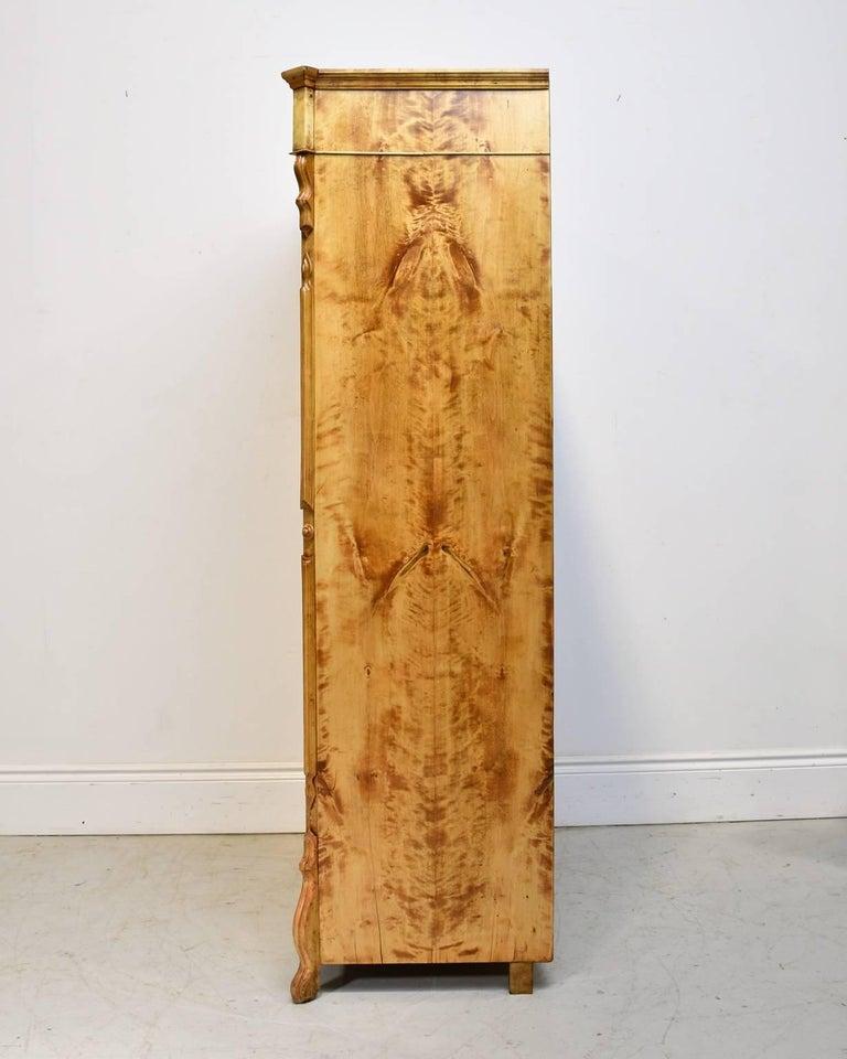 North German Single-Door Biedermeier Armoire in Fire Birch, circa 1845 For Sale 2