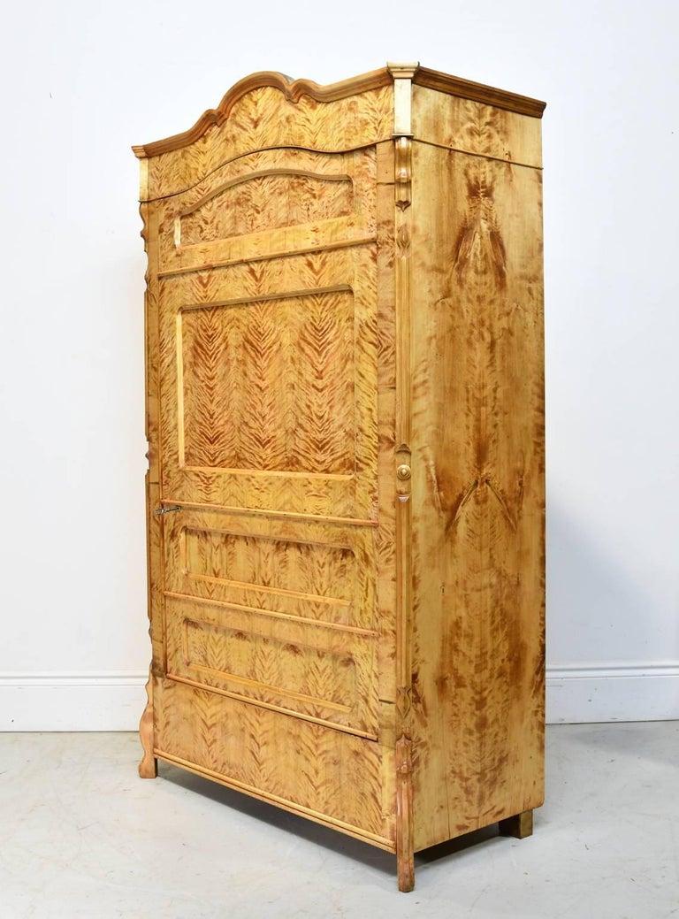 North German Single-Door Biedermeier Armoire in Fire Birch, circa 1845 For Sale 3