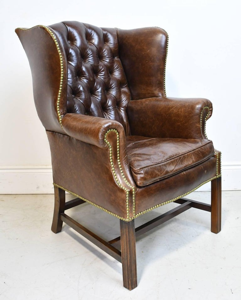 Red Leather Wingback Chair For Sale: Vintage Chesterfield Wing-Back Chair With Tufted Brown