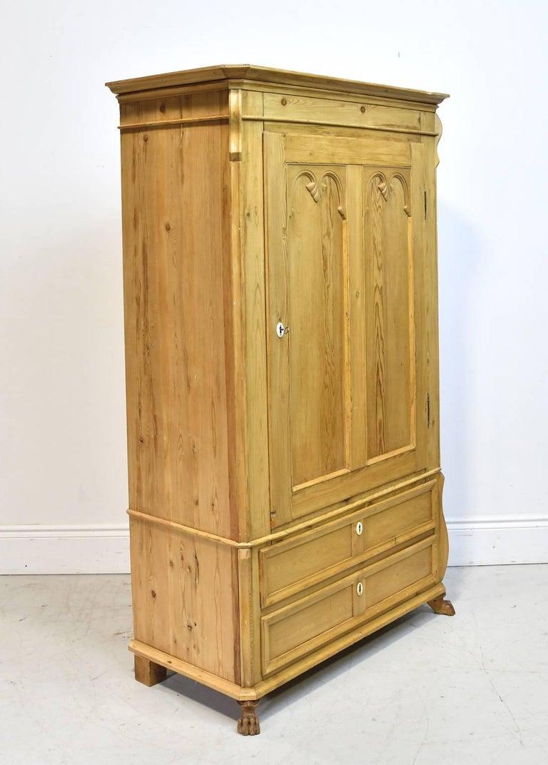 Biedermeier Pine Armoire w/ Single Door & Two Drawers, Denmark, c. 1835 For Sale