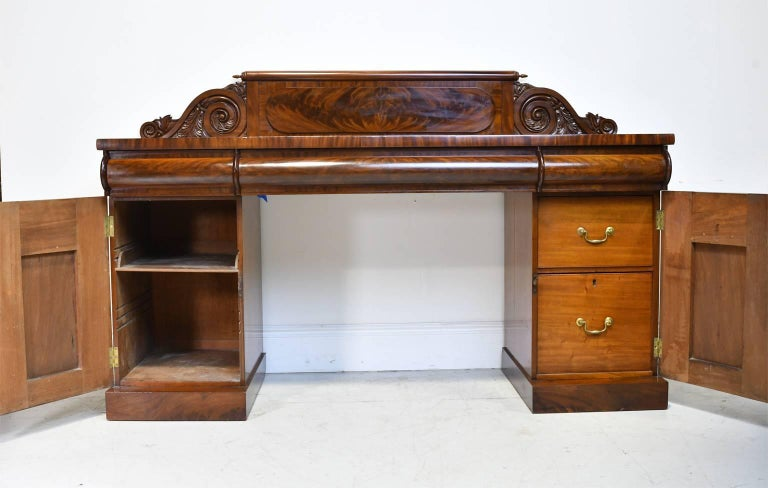 English Regency Pedestal Sideboard in Mahogany with Carved Backboard, circa 1830 In Good Condition For Sale In Miami, FL