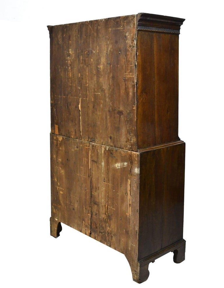 18th Century English George III Chest on Chest in Oak with Pull Out Secretary For Sale 5